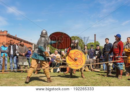 St. Petersburg Russia - 28 May, Elements of defense and attack in battle, 28 May, 2017. Knight tournament at the festival of ancient Vikings in St. Petersburg.