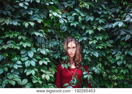 Portrait Of Beautiful Young Woman In Wild Leaves (grapes)