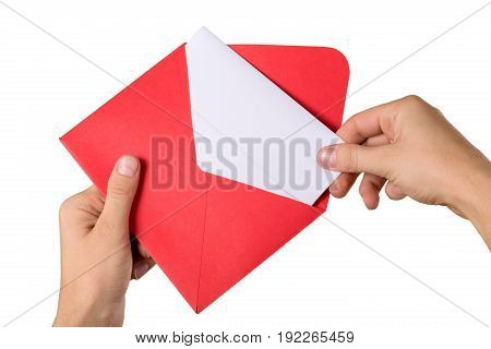 Card hands envelope greeting card white background color image isolated on white