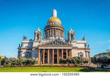 St. Isaac's Cathedral Summer Blue Sky Morning.