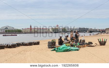 St. Petersburg Russia - 28 May, Preparation for the fireworks and festive salute, 28 May, 2017. Famous sightseeing places of St. Petersburg for tourists.