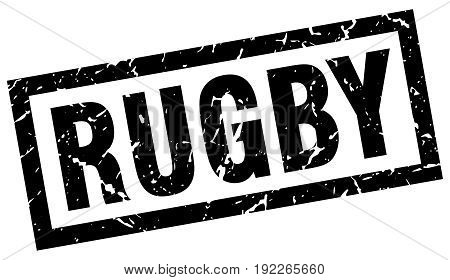 square grunge black rugby stamp on white background