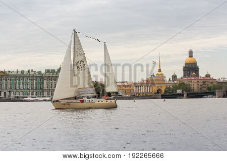 St. Petersburg Russia - 28 May, Yacht on the river Neva, 28 May, 2017. Famous sightseeing places of St. Petersburg for tourists.