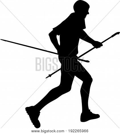 side view black silhouette male runner with trekking poles running