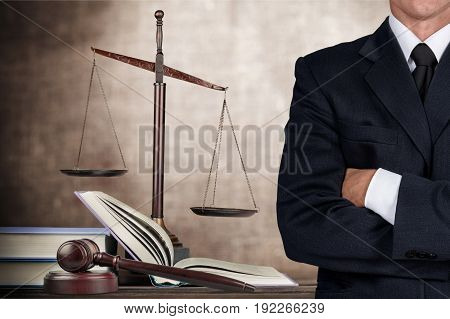 Law lawyer closeup business holding sign gold