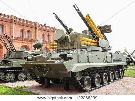 St. Petersburg Russia - 28 May, The combat vehicle of the anti-aircraft missile system Strela-1, 28 May, 2017. Military History Museum of combat equipment in St. Petersburg.