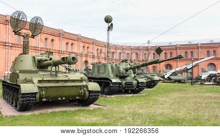 St. Petersburg Russia - 28 May, Exposition of self-propelled plants, 28 May, 2017. Military History Museum of combat equipment in St. Petersburg.