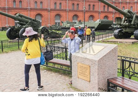 St. Petersburg Russia - 28 May, Tourists in the museum of artillery, 28 May, 2017. Military History Museum of combat equipment in St. Petersburg.