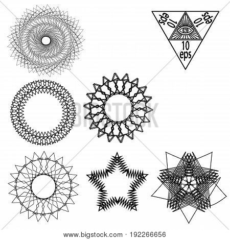Set Geometry Elements Vector Isolated On White Background