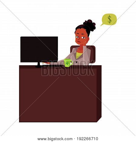 Black, African American businesswoman, secretary, sitting in office, thinking of money, cartoon vector illustration isolated on white background. Black businesswoman, secretary thinking of money