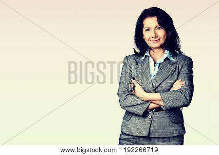 Woman arms businesswoman folded background view beautiful