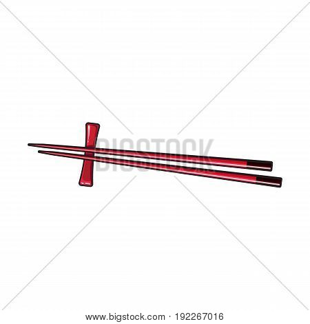 Pair of bamboo Asian, Chinese, Japanese chopsticks lying on wooden rest, sketch vector illustration isolated on white background. Traditional Chinese, Japanese, Thai cuisine chopsticks