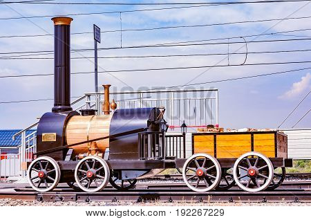 Moscow Russia - August 02 2014: Model of the first russian steam locomotive made by Cherepanovs in Cherbinka.