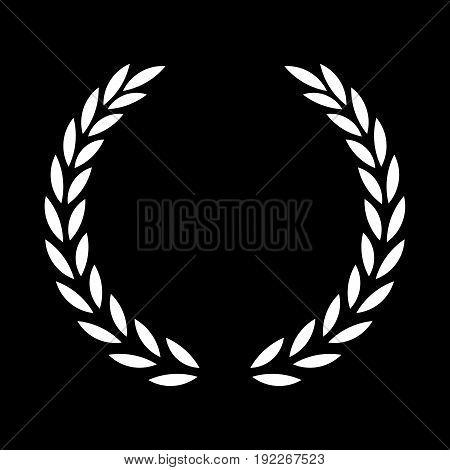 icon white laurel wreath - illustration Black dark icon laurel