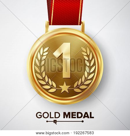 Gold Medal Vector. Metal Realistic First Placement Achievement. Round Medal With Red Ribbon, Relief Detail Of Laurel Wreath And Star. Competition Game Golden Achievement.