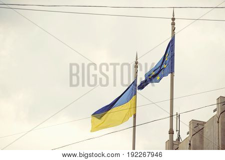 Flag Of Ukraine And The European Union
