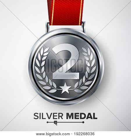 Silver Medal Vector. Metal Realistic Second Placement Achievement. Round Medal With Red Ribbon, Relief Detail Of Laurel Wreath And Star. Competition Game Siver Achievement.