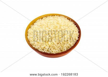 Steamed Rice In A Bowl On A White Background