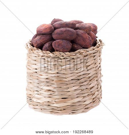 Cacao Beans In Basket Isolated On White Backgroun