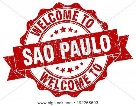welcome to Sao Paulo. stamp. round ribbon seal