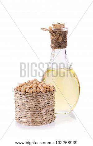 Soybeans In Basket  And Oil Isolated On White Background