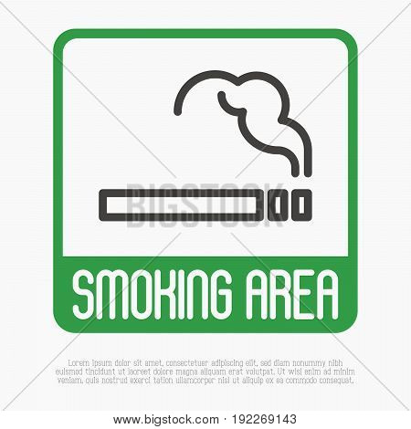 Smoking area thin line sign. Vector illustration.