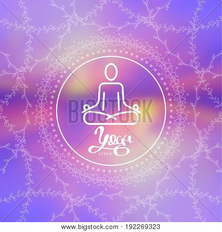 Concept of yoga. Human in lotus pose for logo of meditation yoga school, class, spa salon. Thin line vector illustration.