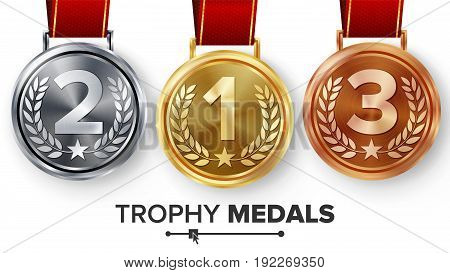 Champion Medals Set Vector. Metal Realistic First, Second Third Placement Achievement. Round Medals With Red Ribbon, Relief Detail Of Laurel Wreath, Star.