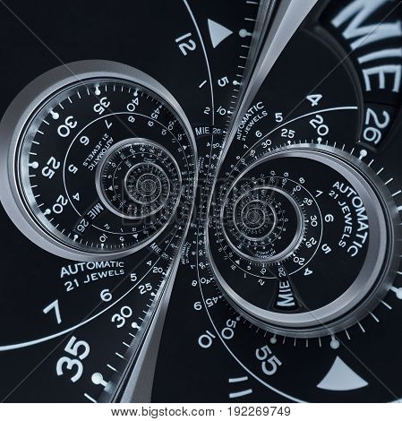 Futuristic modern black silver clock watch abstract fractal surreal double spiral. Watch clock unusual abstract texture pattern fractal background. Modern stylish abstract fractal clock double helix
