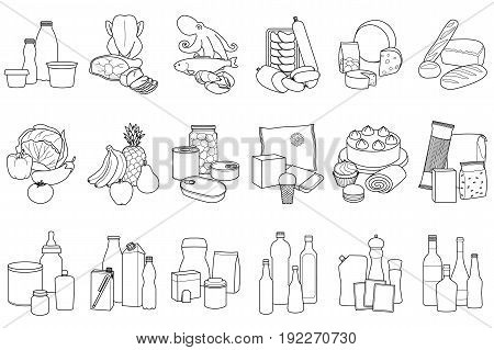 Food product outline set, placed in categories on white background.