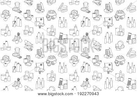 Food product outline seamless pattern, placed in categories on white background. Supermarket meal coloring page wallpaper.