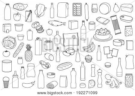 Food product outline set on white background. Coloring page with meal.