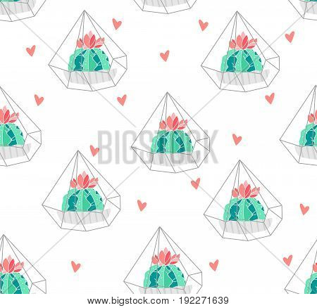 Seamless pattern with color cactus in terrarium and hearts on white background. Ornament for textile and wrapping. Vector.