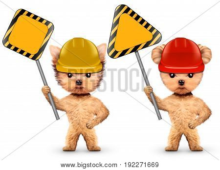 Funny dogs in hard hat with road sings isolated on white. Constructor and handyman concept. 3D illustration with clipping path