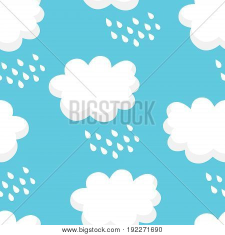 Nature pattern with white clouds and raindrops on blue background. Ornament for children's textiles and wrapping. Vector.