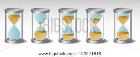Glass Hourglass with metal hats, five Variations, leaking sand