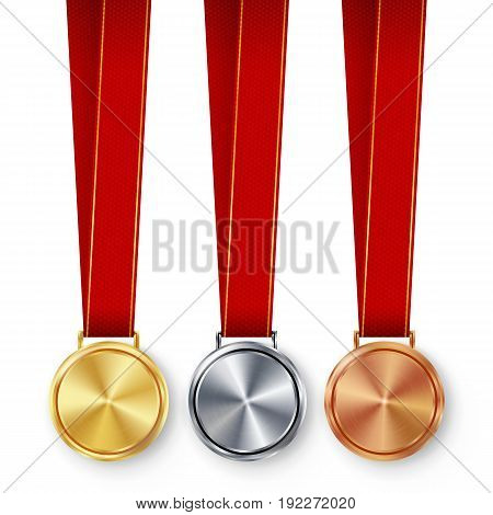 Champion Medals Blank Set Vector. Metal Realistic First, Second Third Placement Prize. Classic Empty Medals Concept. Red Ribbon, Laurel Wreath.