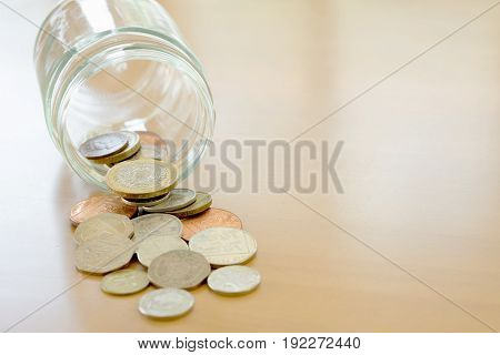 Savings Jar and Coins, money, currency, glass