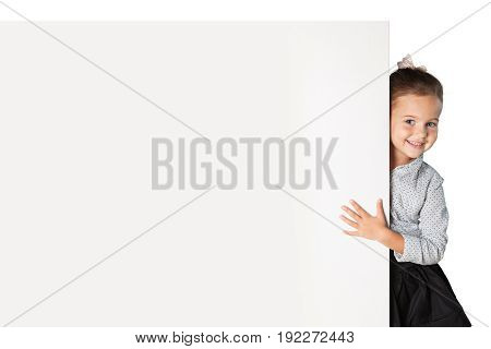 Little girl smiling with blank background close-up