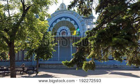 PYATIGORSK,RUSSIA-JUNE 22,2017:Lermontov Gallery in park Flower garden one of the largest pleasure resort Russia.