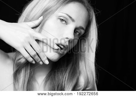 Vogue style photo of sensual young woman