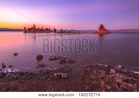 Spectacular sedimentary formations along the shores of Mono Lake. Scenic sunset pink. The Mono Lake Tufa State Natural Reserve, California, United States.