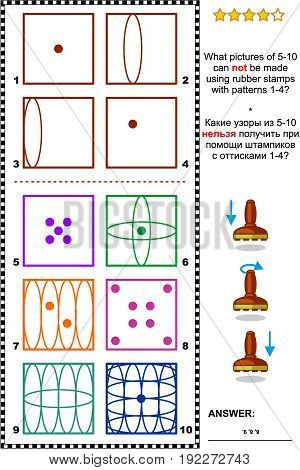 IQ training abstract visual puzzle: What pictures of 5-10 can not be made using rubber stamps with patterns 1-4? Answer included.