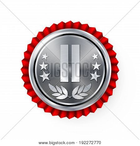 Silver 2st Place Rosette, Badge, Medal Vector. Realistic Achievement With Best Second Placement. Round Championship Label With Red Rosette. Ceremony Winner Honor Prize.