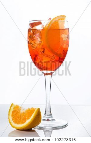 Aperol spritz cocktail in glass isolated on white background