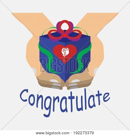 a gift in the hands celebration for beloved on white background congratulations with hearts fully editable image