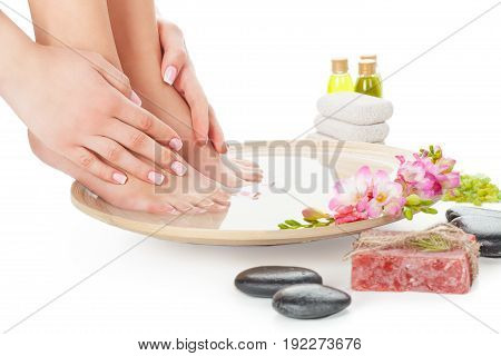 Female hands legs spa young adult white background beautiful