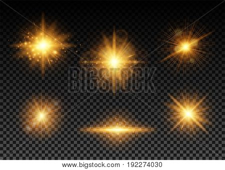 Vector illustration of golden lights set. Shining particles, bokeh, sparks, glare with a highlight effect on a dark background transparent
