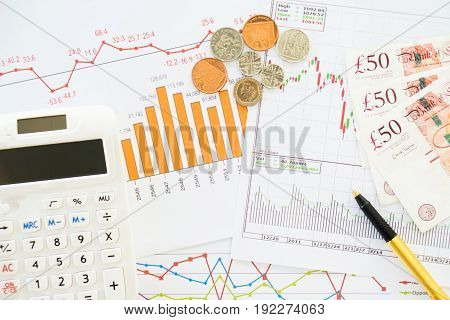 Stock market finance account report, calculator, money, coins