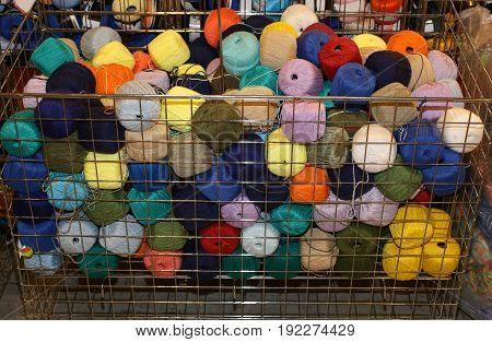 Basket Full Of Woolen Yarns For Sale In Wholesale Haberdashery